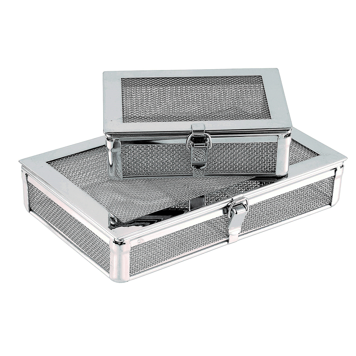 Fine Mesh Basket with Removable Lid, Hinges and Locking Clip Image